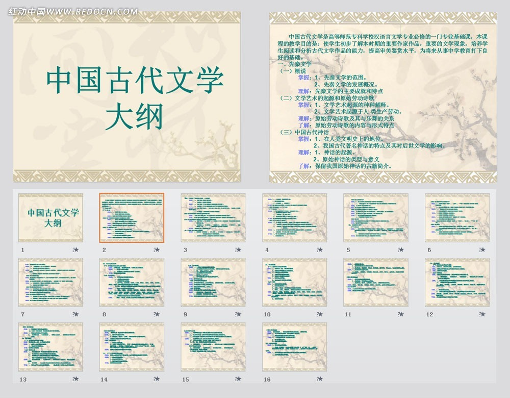 中国古代文为学大纲ppt模板图片