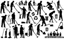 清洁人物剪影矢量素材