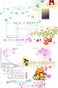 儿童相册文字和图案模板PSD