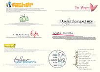 简约英文字体和卡通图案素材PSD