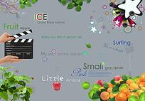 相册英文字体和图片素材PSD
