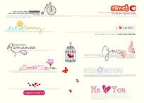 英文艺术字体和卡通手绘素材PSD
