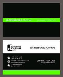 黑色绿色简洁商业名片设计模板EPS