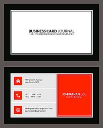 灰白红三色商业名片设计模板EPS