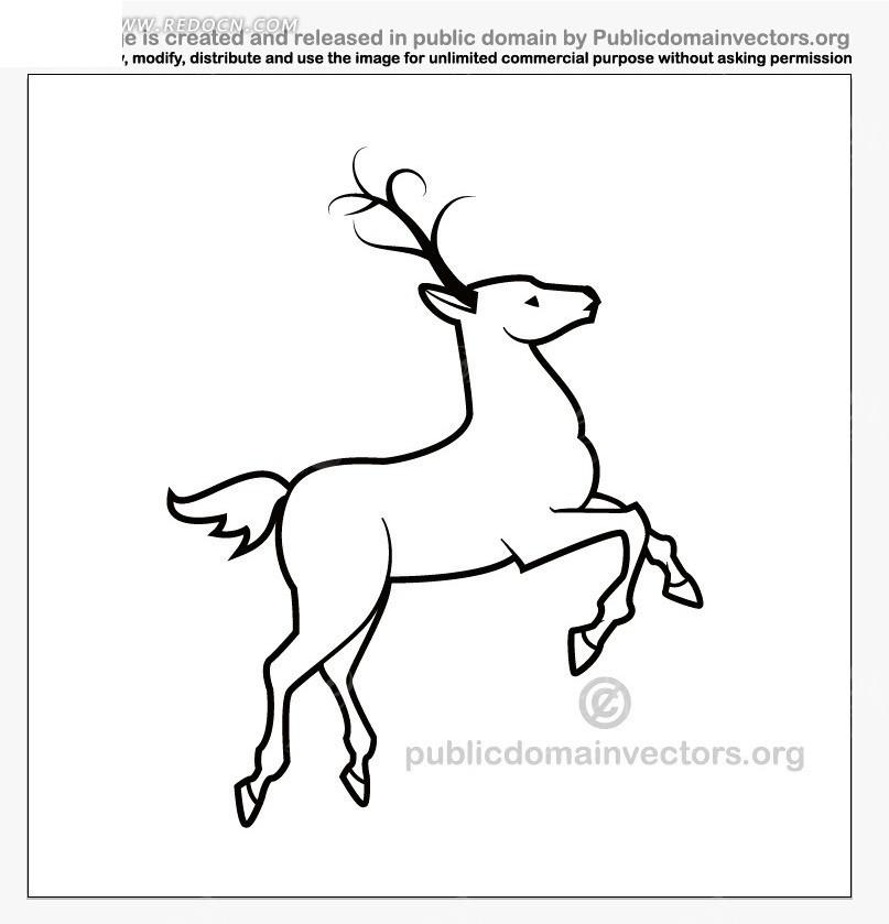 黑色线条勾画出的跳跃的鹿ai素材免费下载_红动网