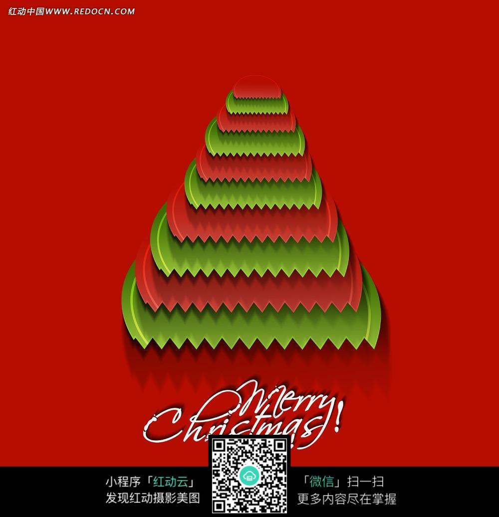 红绿圣诞树剪纸手绘背景jpg图片