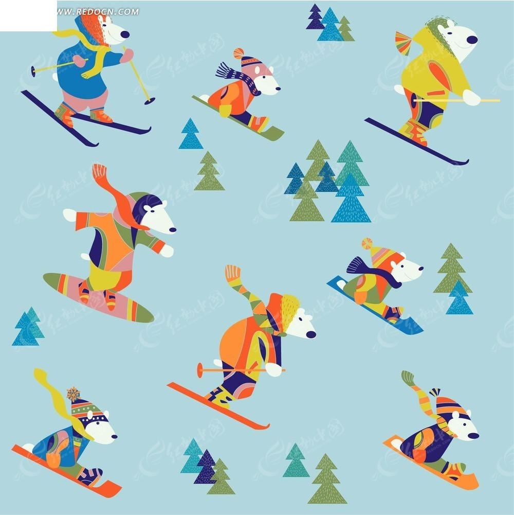 卡通熊滑雪素材