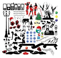 圣诞人物 动物 手机矢量素材合集