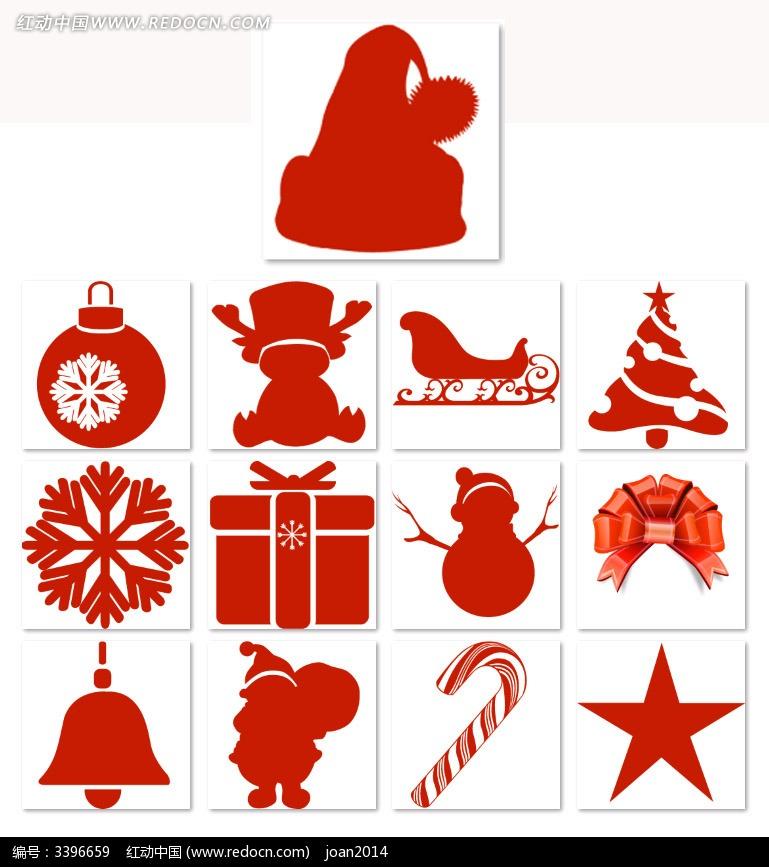 红色圣诞节物品剪影其他免费下载_行业标志素材图片