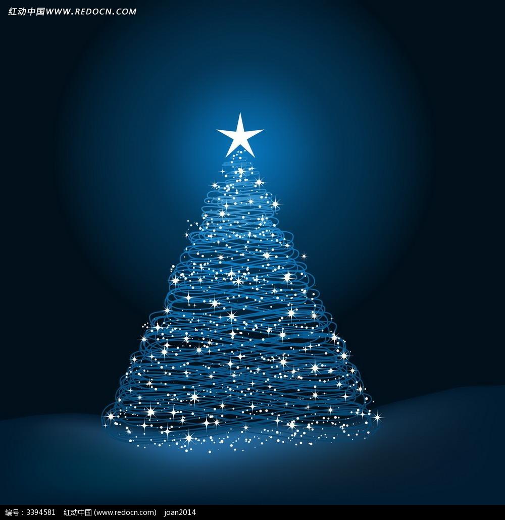 蓝色圣诞树背景卡片设计图片