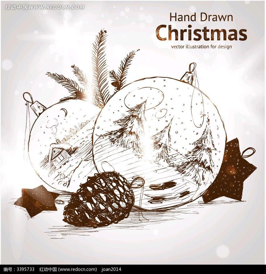 素雅手绘效果圣诞卡