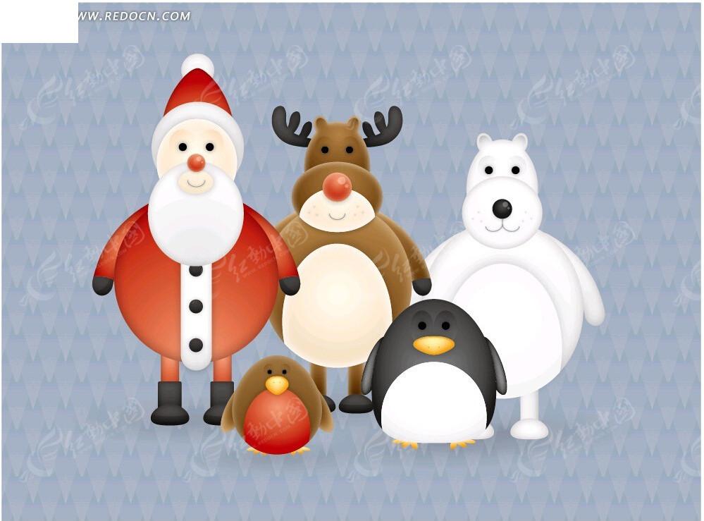 q版卡通圣诞人物素材_圣诞节