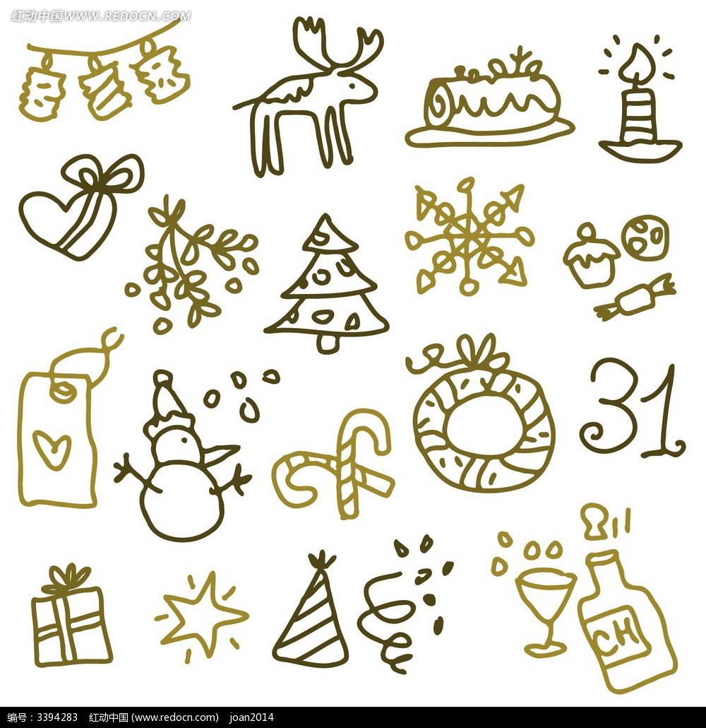 儿童手绘圣诞素材