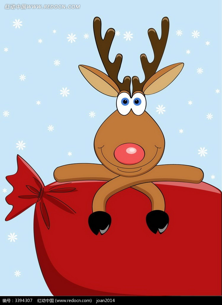 卡通圣诞鹿图片