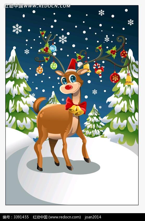 圣诞节 麋鹿 松树 雪花 铃铛 雪景 冬季 圣诞 圣诞夜 平安夜 节日素材