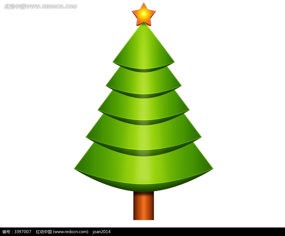 手绘卡通圣诞树psd