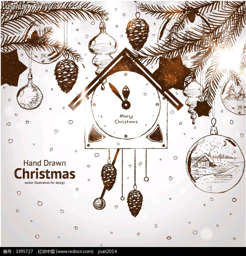 手绘效果圣诞卡