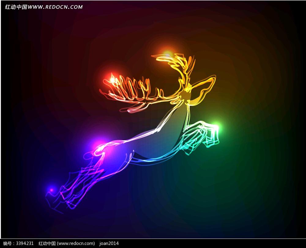 星光效果圣诞鹿eps素材免费下载_红动网