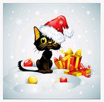 带圣诞帽的卡通猫