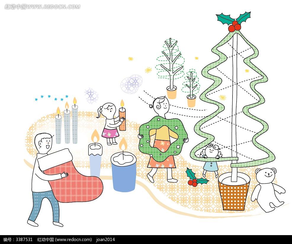 一家三口过圣诞 圣诞袜