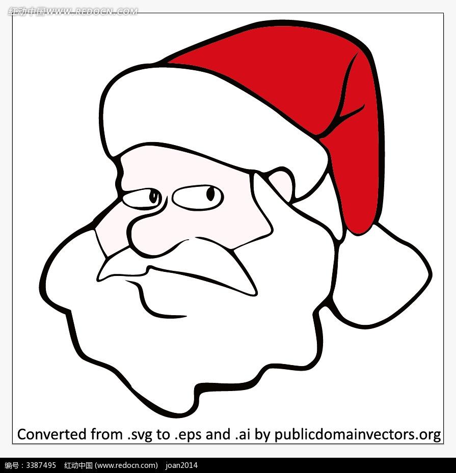 手绘效果圣诞老人头像