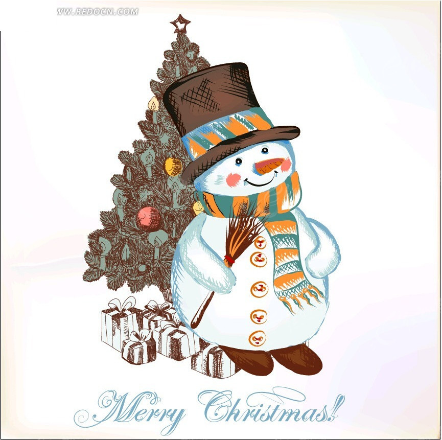 免费素材 矢量素材 节日矢量素材 圣诞节 手绘效果雪人贺卡