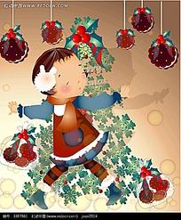 在圣诞树旁跳舞的小女孩