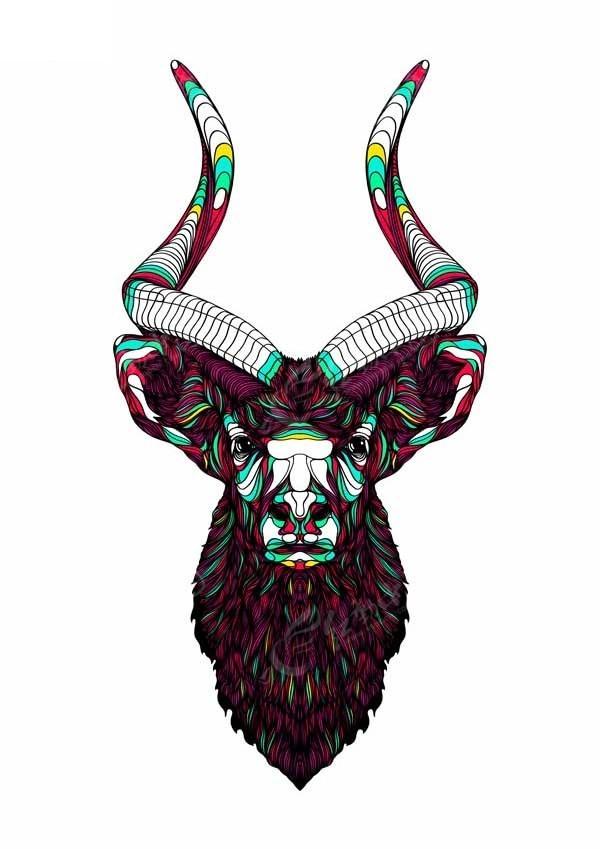 彩色手绘鹿图案