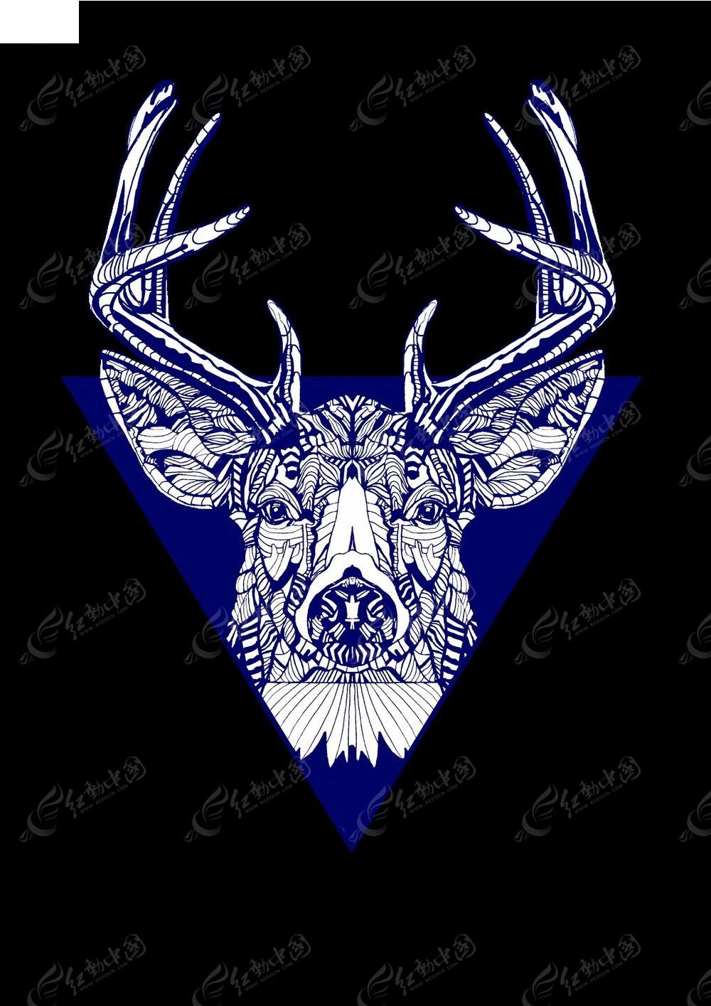 t恤图案 手绘鹿