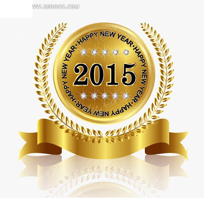 米粒金牌状的2015新年矢量素材