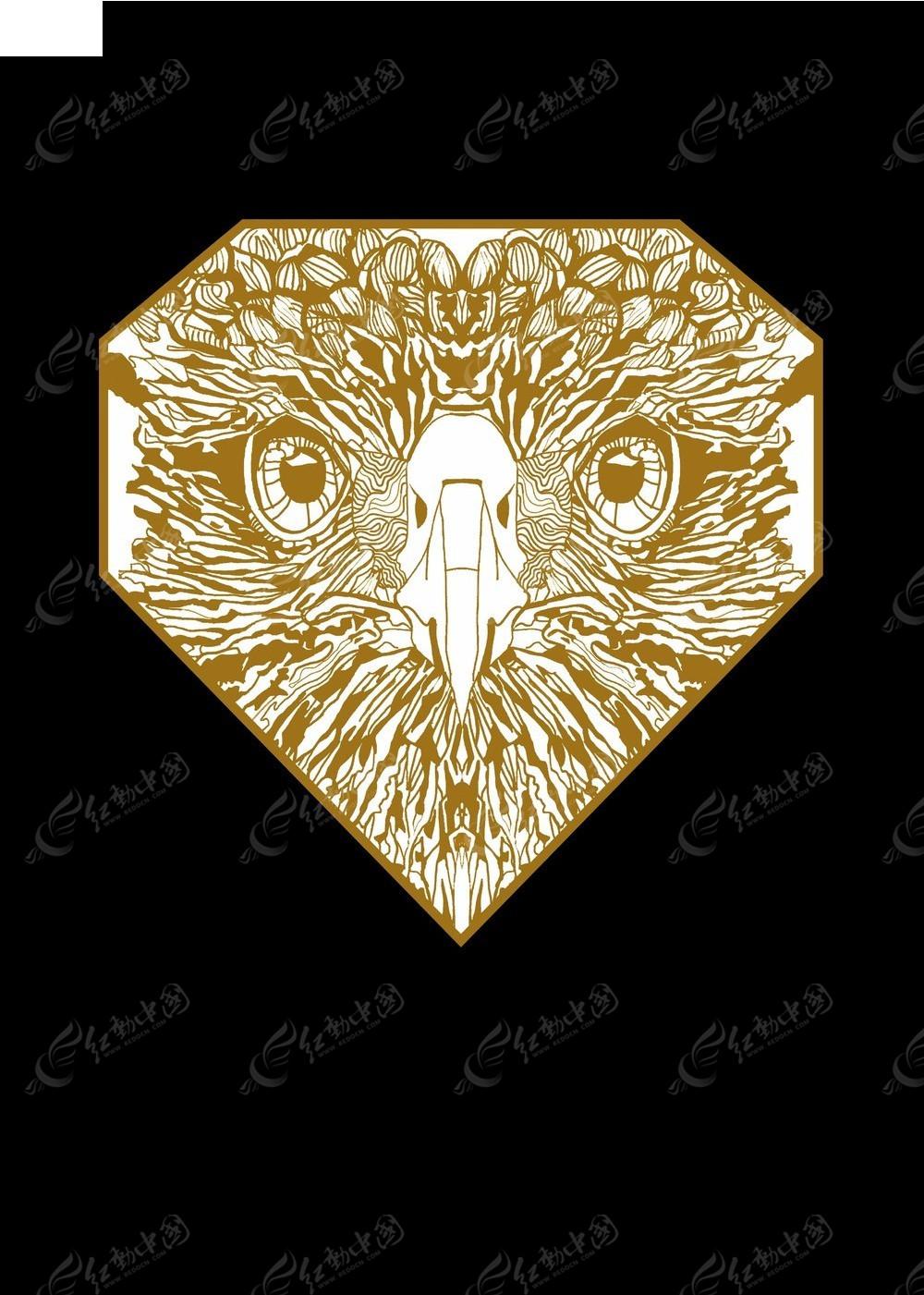 免费素材 psd素材 psd分层素材 动物 钻石轮廓鹰头图案