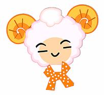 卡通黄犄角微笑小羊头设计矢量素材