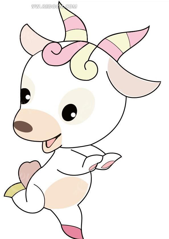 美丽可爱的卡通小羊设计矢量素材