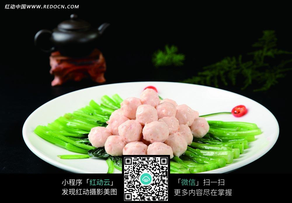 虾滑菜胆图