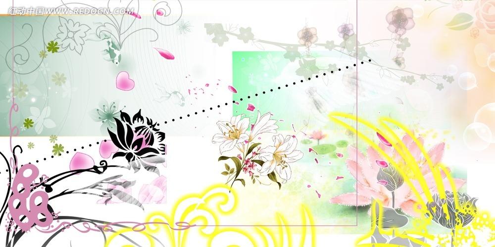 清新手绘花朵素材
