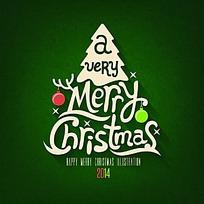 圣诞节圣诞卡上的圣诞树矢量