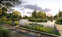 经济园区休闲绿化带效果图