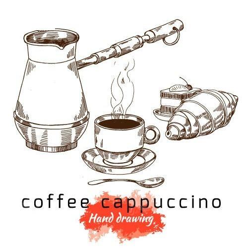 矢量手绘热奶咖啡面包