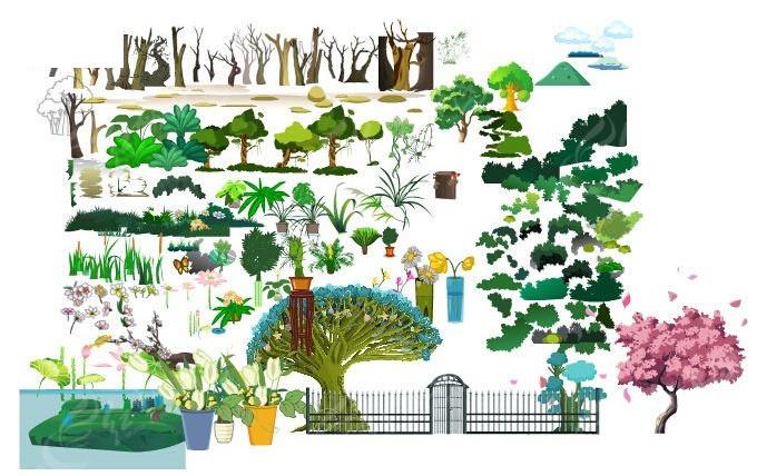 常见手绘植被平面图