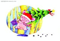 森林里扛圣诞树奔跑的小猪背景画