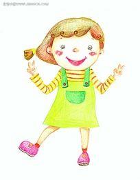 彩笔画做胜利手势跳舞的小女孩