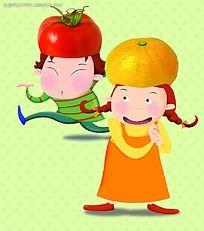 戴番茄帽子跳舞的小男孩戴橘子帽子的小女孩