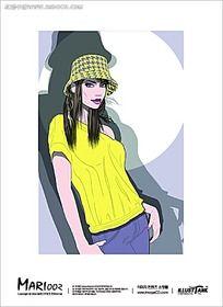 戴帽子手插口袋的外国美女手绘图