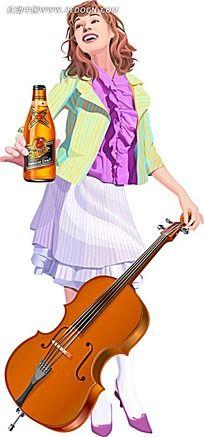 喝短裙图片_喝啤酒设计素材啤酒黑色美女图片图片
