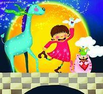 和长颈鹿小猫小鸟一起跳舞的小女孩背景画