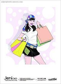 提购物袋的时尚美女手绘图