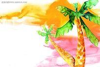 椰子树水彩画