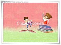 在书本上跳舞的小男孩小女孩背景画