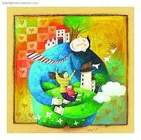 坐在父亲的怀抱玩耍的母子想象艺术画背景