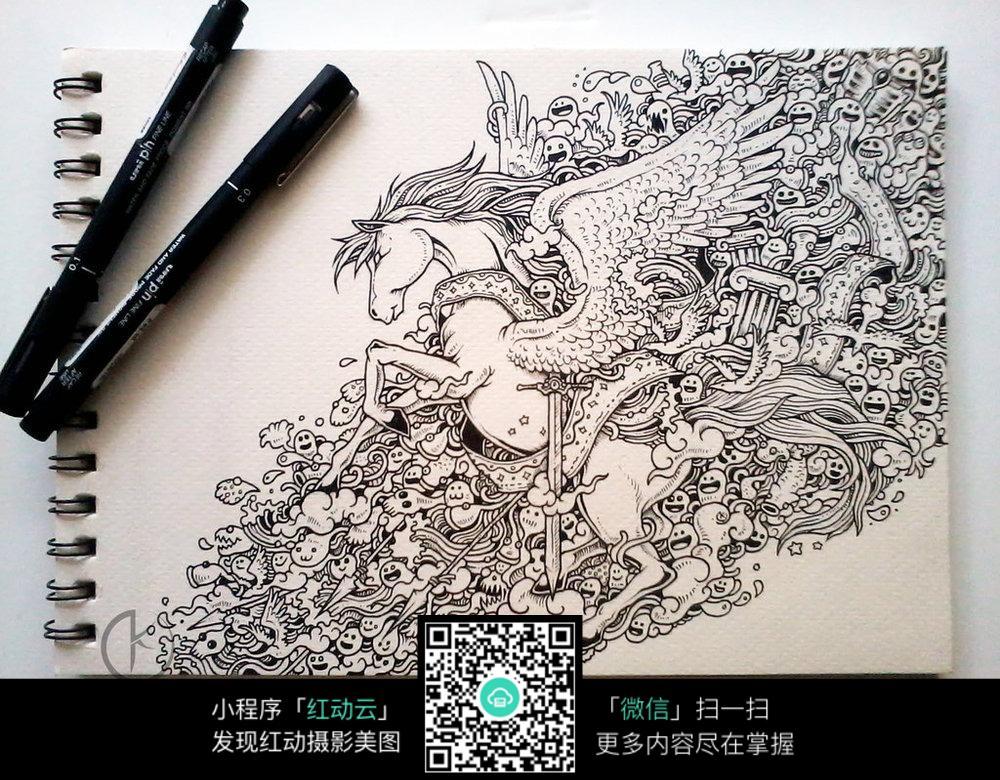 白马手绘插画